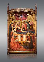 Gothic altarpiece of the Dormition of the Madonna (Dormicio de la Mare de Dieu) by Pere Garcia de Benavarri, circa 1460-1465, tempera and gold leaf on wood.  National Museum of Catalan Art, Barcelona, Spain, inv no: MNAC  64040.