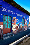 Ataco, El Salvador, Wall Mural, 'Society Of Labor Of Ataco' Facade, Famous For Its Wall Murals, Route Of Flowers, Rutas De Las Flores, Department Of Ahuachapan