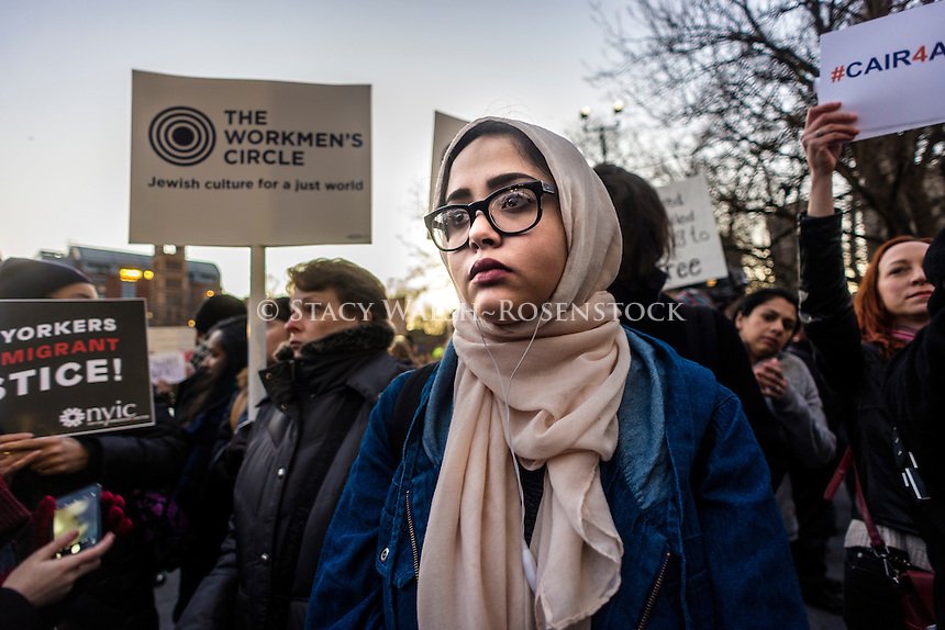 New York, USA 25 January 2017 Hours after President Donald Trump signed executive orders to begin building a wall between the US and Mexico, and to increase immigration enforcement, activists rallied in Washington Square Park vowing to defend Muslim and Immigrant rights. ©Stacy Walsh Rosenstock / Alamy Live News