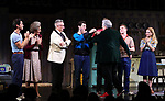 "Michael Hsu Rosen, Mercedes Ruehl, Moises Kaufman, Michael Urie, Harvey Fierstein, Ward Horton, Jack DiFalco and Roxanna Hope Radja  during the Broadway Opening Night Curtain Call for ""Torch Song"" at the Hayes Theater on November 1, 2018 in New York City."