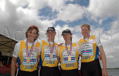 28 May 2005: The winning British Women's four of Katherine Grainger, Sarah Winckless, Rebecca Romero and Frances Houghton with their gold medals at the Bearingpoint Rowing World Cup, Dorney Lake, Eton Photo: Martin Cushen/actionplus...rowers 050528 team teamwork winner