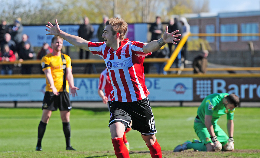 Lincoln City&rsquo;s Robbie McDaid celebrates scoring his sides first goal <br /> <br /> Photographer Andrew Vaughan/CameraSport<br /> <br /> Football - Vanarama National League - Southport v Lincoln City - Saturday 16th April 2016 - Merseyrail Community Stadium - Southport<br /> <br /> &copy; CameraSport - 43 Linden Ave. Countesthorpe. Leicester. England. LE8 5PG - Tel: +44 (0) 116 277 4147 - admin@camerasport.com - www.camerasport.com