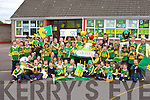 Castledrum NS  pupils and teachers with their Kerry manaquin, Kerry wheelbarrow and a replica Sam Maguire which they have placed on the road outside their school decked out in Kerry colours    Copyright Kerry's Eye 2008