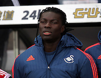 Bafetimbi Gomis of Swansea sings the French national anthem in tribute to the people killed in Paris, before the Barclays Premier League match between Swansea City and Bournemouth at the Liberty Stadium, Swansea on November 21 2015