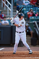 Jackson Generals first baseman Kevin Cron (50) at bat during a game against the Chattanooga Lookouts on April 29, 2017 at The Ballpark at Jackson in Jackson, Tennessee.  Jackson defeated Chattanooga 7-4.  (Mike Janes/Four Seam Images)