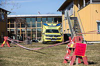 A temporary ambulance reception area at an institution during the Covid-19 , coronaviraus, pandemic.<br /> <br /> <br /> <br /> <br /> ©Fredrik Naumann/Felix Features