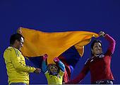 Hinchas colombianos  en el Estadio Centenario de Montevideo el 13 de octubre de 2015.<br /> <br /> Foto: Daniel Jayo/Archivolatino<br /> <br /> COPYRIGHT: Archivolatino<br /> Prohibido su uso sin autorizaci&oacute;n.
