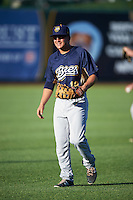 Burlington Bees first baseman Matt Thaiss (12) during warmups before a game against the South Bend Cubs on July 22, 2016 at Four Winds Field in South Bend, Indiana.  South Bend defeated Burlington 4-3.  (Mike Janes/Four Seam Images)