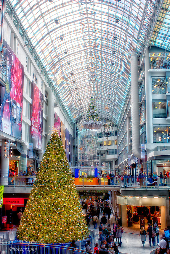 A view inside the Toronto Eaton Centre at Christmas.