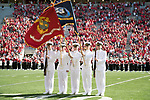 The ROTC Color Guard presents the flags during the National Anthem prior to the Wisconsin Badgers NCAA College Football game against the Florida Atlantic Owls Saturday, September 9, 2017, in Madison, Wis. The Badgers won 31-14. (Photo by David Stluka)