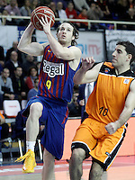 Mad-Croc Fuenlabrada's Quino Colom (r) and FC Barcelona Regal's Marcelinho Huertas during Liga Endesa ACB match.November 18,2012. (ALTERPHOTOS/Acero) /NortePhoto
