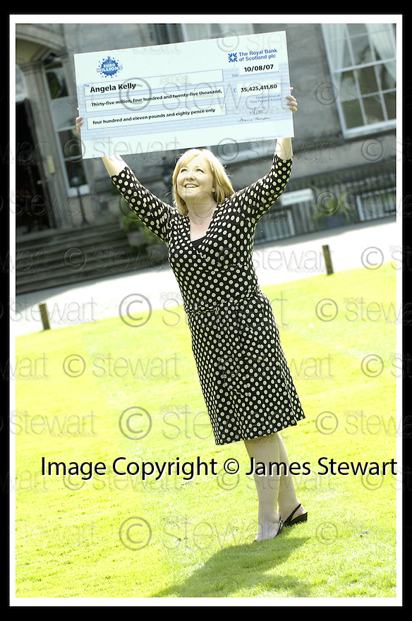 15/08/2007       Copyright Pic: James Stewart.File Name : sct_jspa17_lottery.ANGELA KELLY AT THE PRESS CONFERENCE WHERE SHE COLLECTED HER CHEQUE FOR £35,425,411.80 AFTER HER EUROMILLIONS LOTTERY WIN.....James Stewart Photo Agency 19 Carronlea Drive, Falkirk. FK2 8DN      Vat Reg No. 607 6932 25.Office     : +44 (0)1324 570906     .Mobile   : +44 (0)7721 416997.Fax         : +44 (0)1324 570906.E-mail  :  jim@jspa.co.uk.If you require further information then contact Jim Stewart on any of the numbers above........