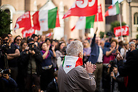 """Arnaldo """"Nando"""" Cavaterra (Antifascist Partizan. Member of the Partigiani: the Italian Resistance during WWII).<br /> <br /> Roma, 27/10/2018. Today Members of the far-right/neo-fascist political party 'Forza Nuova' (New Force), held a demonstration at Porta Maggiore in Rome in response to the rape and murder of the 16-year-old Desiree Mariottini committed in San Lorenzo district Friday the 19th October.<br /> In the meantime, ANPI (National Association of Italian Partizans), supported by other anti-fascist / anti-racist organizations, social centres, trade unions, and political parties, held a counter-demonstration in the heart of San Lorenzo, Piazza dell'Immacolata. The demo was called to protest against the rally of Forza Nuova (New Force), accused to be a fascist group trying to exploit the death of Desiree Mariottini, to propose """"fascist patrols"""" ('ronde' in Italian) in the famous WWII-anti-fascist neighbourhood of San Lorenzo, and for """"narrow-minded slander"""" ('sciacallaggio' in Italian).<br /> The heavy police presence, in full riot gears, kept the two sides apart. A small group of provocateurs, armed of two 'Forza Nuova' (New Force) flags, were blocked by anti-fascists and police while they were trying to reach the area where Desiree Mariottini was killed in Via dei Lucani 22.<br /> The sixteen-year-old Desiree Mariottini was found dead in a derelict-abandoned building (known for drug trafficking) in San Lorenzo district on October 19. The Italian police, in connection with the murder, arrested four people, two Senegalese, one Nigerian and one Ghanaian nationals, who allegedly drugged and gang raped Desiree while unconscious, before she died of an alleged overdose (For more info BBC website, https://bbc.in/2O5Sf8l)."""