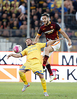 Calcio, Serie A: Frosinone vs Roma. Frosinone, stadio Comunale, 12 settembre 2015.<br /> Frosinone&rsquo;s Federico Dionisi, left, and Roma&rsquo;s Kostas Manolas fight for the ball during the Italian Serie A football match between Frosinone and Roma at Frosinone Comunale stadium, 12 September 2015.<br /> UPDATE IMAGES PRESS/Isabella Bonotto