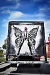 Urban street artist punk me tender art work on a truck in Los Angeles, CA. June 11, 2016. ©Fitzroy Barrett