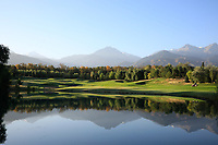 A general view of the 8th hole during the first round of the Kazakhstan Open presented by ERG played at Zhailjau Golf Resort, Almaty, Kazakhstan. 13/09/2018<br /> Picture: Golffile | Phil Inglis<br /> <br /> All photo usage must carry mandatory copyright credit (&copy; Golffile | Phil Inglis)
