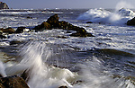 Patrick's Point State Park along the Pacific ocean with waves crashing against rocks along shoreline, Northern California State USA