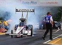 May 19, 2014; Commerce, GA, USA; NHRA top fuel driver Antron Brown during the Southern Nationals at Atlanta Dragway. Mandatory Credit: Mark J. Rebilas-USA TODAY Sports