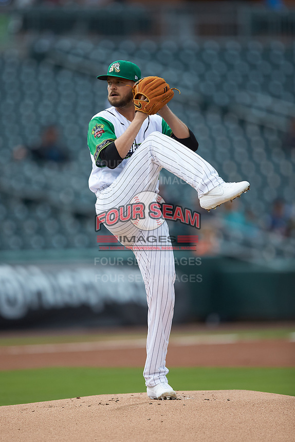 Caballeros de Charlotte starting pitcher Justin Nicolino (30) in action against the Buffalo Bisons at BB&T BallPark on July 23, 2019 in Charlotte, North Carolina. The Bisons defeated the Caballeros 8-1. (Brian Westerholt/Four Seam Images)