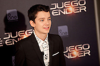 Actor Asa Butterfield poses during a photocall for the film Ender's Game in Madrid on October 3, 2013. (ALTERPHOTOS/Victor Blanco)