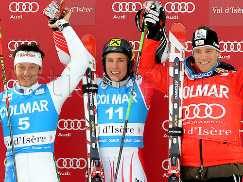 13 12 2009  Ski Alpine FIS WC Val D Isere RTL men Val D Isere France 13 Dec 09 Ski Alpine FIS World Cup Giant slalom for men  Award Ceremony Picture shows the cheering from Massimiliano Blardone ITA Marcel Hirscher and Benjamin Raich AUT .
