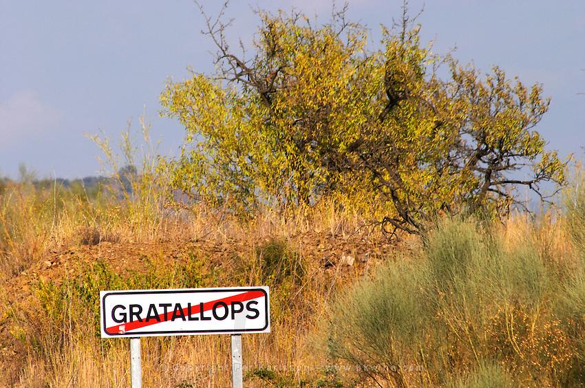 Gratallops road sign. Priorato, Catalonia, Spain