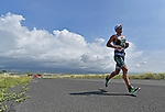 KONA, HAWAII - OCTOBER 14:  Lionel Sanders from Canada runs en route to a second place during the 2017 IRONMAN World Championships on October 12, 2017 in Kona, Hawaii. (Photo by Donald Miralle for IRONMAN)