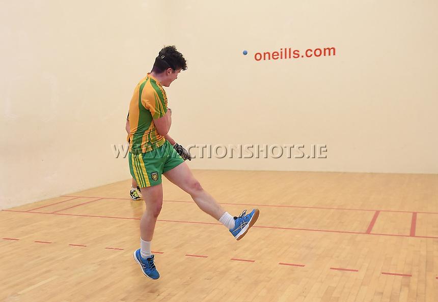 19/03/2018; 40x20 All Ireland Juvenile Championships Finals 2018; Kingscourt, Co Cavan;<br /> Boys Under-17 Singles; Kilkenny (Jack Holden) v Donegal (Odhran McGlynn)<br /> Photo Credit: actionshots.ie/Tommy Grealy