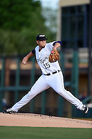 Lakeland Flying Tigers pitcher Jake Thompson (15) during a game against the Tampa Yankees on April 5, 2014 at Joker Marchant Stadium in Lakeland, Florida.  Lakeland defeated Tampa 3-0.  (Mike Janes/Four Seam Images)