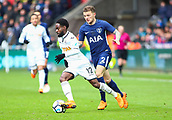 17th March 2018, Liberty Stadium, Swansea, Wales; FA Cup football, quarter-final, Swansea City versus Tottenham Hotspur; Nathan Dyer of Swansea City controls the ball as he is pressured by Kieran Trippier of Tottenham Hotspur