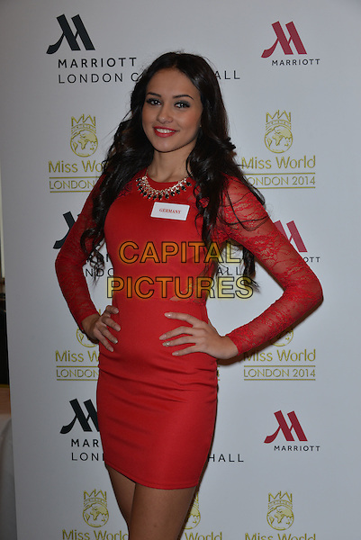 Miss Germany  Egzonita ALI<br /> photocall for Miss World 2014 contestants in central London, on November 25, 2014. This year's Miss World contest will take place in London on December 14, 2014<br /> CAP/PL<br /> &copy;Phil Loftus/Capital Pictures