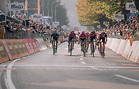 In a sprint for 3rd, Dylan Theuns (BEL/BMC) proves to be the fastest at the finish line, outsprinting Tim Wellens (BEL/Lotto-Soudal) &amp; Rigoberto Uran (COL/EducationFirst-Drapac)<br /> <br /> 112th Il Lombardia 2018 (ITA)<br /> from Bergamo to Como: 241km