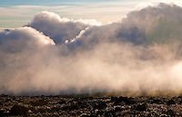Fog rolls in on the Shira Plateau on Mount Kilimanjaro, the highest point in Africa and located in Northern Tanzania.