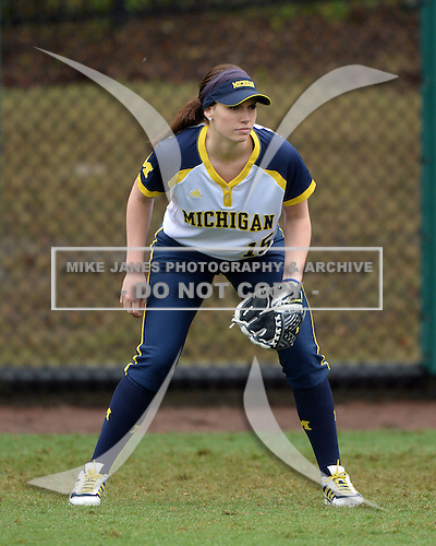 Michigan Wolverines outfielder Nicole Sappingfield (15) in the field during the season opener against the Florida Gators on February 8, 2014 at the USF Softball Stadium in Tampa, Florida.  Florida defeated Michigan 9-4 in extra innings.  (Copyright Mike Janes Photography)