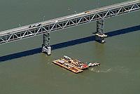 aerial photograph of maintenance barges Richmond  Bridge