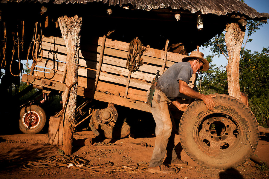Cubans rest after a day's work, in tobacco growing region of Vinales, Cuba, on Sunday, April 21, 2008.