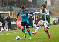 Fleetwood Town's  Wes Burns holds off Plymouth Argyle's Graham Carey<br /> <br /> Photographer Andrew Kearns/CameraSport<br /> <br /> The EFL Sky Bet League One - Plymouth Argyle v Fleetwood Town - Saturday 7th October 2017 - Home Park - Plymouth<br /> <br /> World Copyright &copy; 2017 CameraSport. All rights reserved. 43 Linden Ave. Countesthorpe. Leicester. England. LE8 5PG - Tel: +44 (0) 116 277 4147 - admin@camerasport.com - www.camerasport.com
