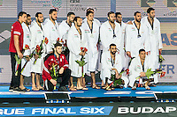 Olympiacos GRE Silver Medal Celebration <br /> Prizes Ceremony<br /> Budapest, Alfred Hajos National Swimming Complex<br /> LEN 2016 Water Polo Champions League Final Six<br /> Budapest HUN June 2 - 5, 2016<br /> Day 03 June 4, 2016<br /> Photo Giorgio Scala/Deepbluemedia/Insidefoto