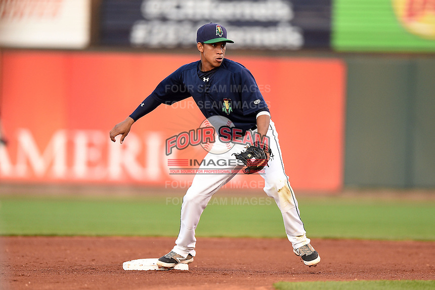 Cedar Rapids Kernels shortstop Engelb Vielma (1) stretches for a throw to force a runner out during a game against the Quad Cities River Bandits on August 18, 2014 at Perfect Game Field at Veterans Memorial Stadium in Cedar Rapids, Iowa.  Cedar Rapids defeated Quad Cities 4-2.  (Mike Janes/Four Seam Images)