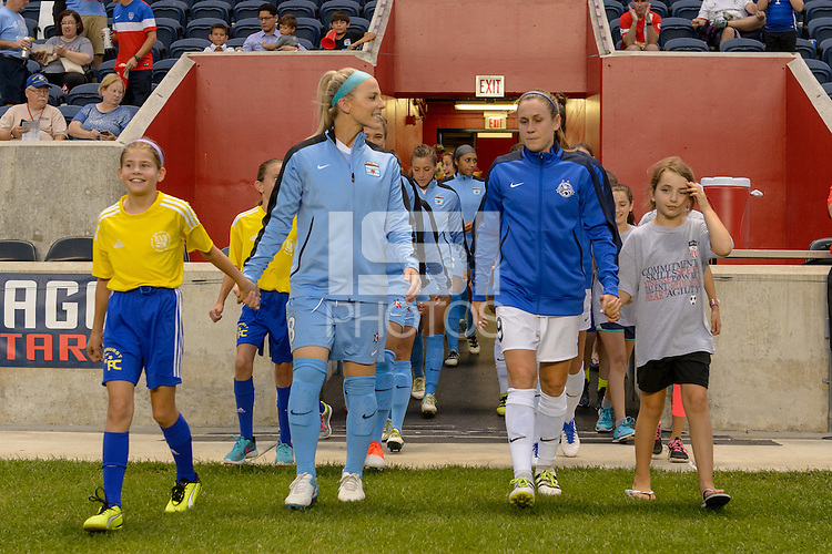 Chicago, IL - Wednesday Sept. 07, 2016: Julie Johnston, Heather O'Reilly prior to a regular season National Women's Soccer League (NWSL) match between the Chicago Red Stars and FC Kansas City at Toyota Park.