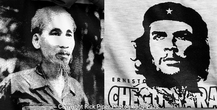 Ho Chi Minh and Che Guevara - Ho Chi Minh and Che Guevara printed on T-shirts in a shop in Saigon, Viet Nam