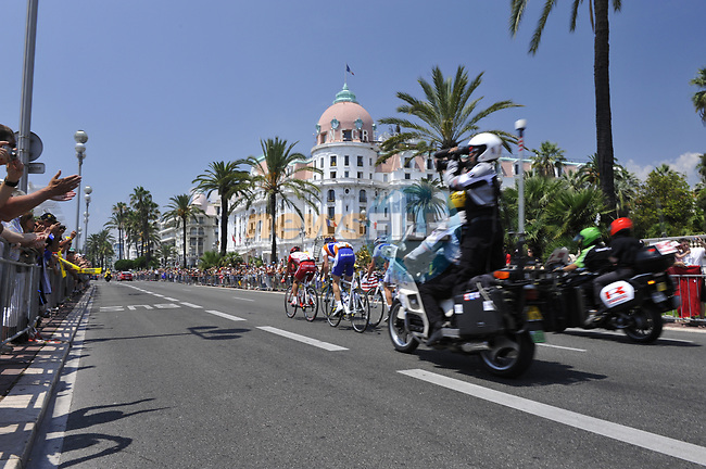 The breakaway group Jussi Veikkanen FDJ, Stef Clement Rabobank, Cyril Dessel AG2R La Mondiale and Stéphane Augé Cofidis along the Promenade des Anglais, Nice, during Stage 2 of the Tour de France 2009 running 187km from Monaco to Brignoles, France. 5th July 2009 (Photo by Eoin Clarke/NEWSFILE)