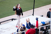Kannapolis Intimidators intern Tamara throws a t-shirt to fans during the South Atlantic League game against the Lakewood BlueClaws at Kannapolis Intimidators Stadium on April 6, 2017 in Kannapolis, North Carolina.  The BlueClaws defeated the Intimidators 7-5.  (Brian Westerholt/Four Seam Images)