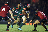 Sione Kalamafoni of Leicester Tigers goes on the attack. European Rugby Champions Cup match, between Leicester Tigers and Munster Rugby on December 17, 2017 at Welford Road in Leicester, England. Photo by: Patrick Khachfe / JMP