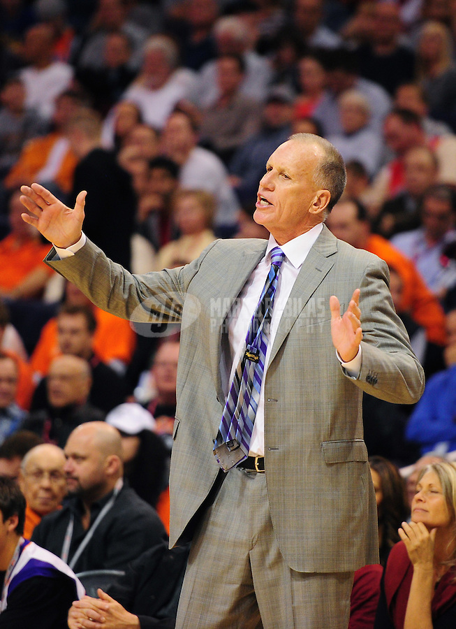 Dec. 28, 2011; Phoenix, AZ, USA; Philadelphia 76ers head coach Doug Collins during game against the Phoenix Suns at the US Airways Center. The 76ers defeated the Suns 103-83. Mandatory Credit: Mark J. Rebilas-USA TODAY Sports