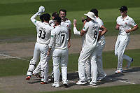 Graham Onions of Lancashire celebrates with his team mates after taking the wicket of Varun Chopra during Lancashire CCC vs Essex CCC, Specsavers County Championship Division 1 Cricket at Emirates Old Trafford on 10th June 2018