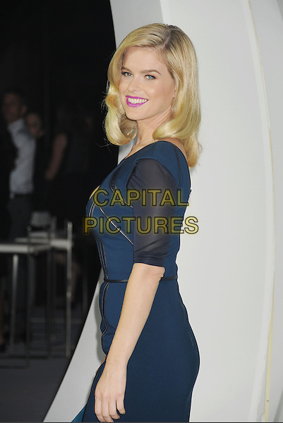 Alice Eve<br /> &quot;Star Trek Into Darkness&quot; DVD/Blu-Ray Release held at the California Science Center, Los Angeles, California, USA.<br /> September 10th, 2013<br /> half length blue dress black side stripe strips leather <br /> CAP/ROT/TM<br /> &copy;Tony Michaels/Roth Stock/Capital Pictures