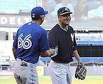 Munenori Kawasaki (Blue Jays), Masahiro Tanaka (Yankees),<br /> JUNE 18, 2014 - MLB : Japan's Masahiro Tanaka (R) of the New York Yankees shakes hands with Japan's Munenori Kawasaki of the Toronto Blue Jays (L) before the Major League Baseball game at Yankee Stadium in the Bronx, NY, USA.<br /> (Photo by AFLO)