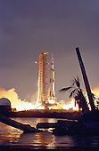 The Apollo 14 Saturn V Space Vehicle, carrying Astronauts Alan B. Shepard, Jr., Stuart A. Roosa, and Edgar D. Mitchell, lifted off at 4:03 p.m. EST on January 31, 1971, from the Kennedy Space Center Launch Complex 39A, in Cape Canaveral, Florida to begin the fourth manned lunar landing mission.<br /> Credit: NASA via CNP
