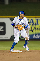 Gabriel Noriega (4) of the Omaha Storm Chasers on defense against the Memphis Redbirds in Pacific Coast League action at Werner Park on April 24, 2015 in Papillion, Nebraska.  (Stephen Smith/Four Seam Images)